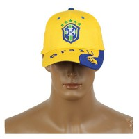 2014 Brazil World Cup Soccer Brazil Yellow Snapback Hat