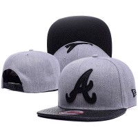 Atlanta Braves MLB Leather RIP 9FIFTY Snapback Hats Gray Black