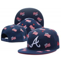 Atlanta Braves USA Flag Navy Snapback Hats