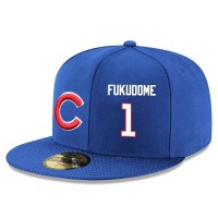 Baseball Majestic Chicago Cubs #1 Kosuke Fukudome Snapback Adjustable Stitched Player Hat - Royal Blue White