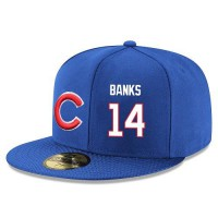Baseball Majestic Chicago Cubs #14 Ernie Banks Snapback Adjustable Stitched Player Hat - Royal Blue White