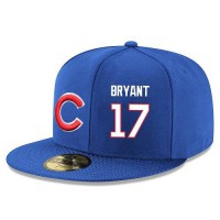 Baseball Majestic Chicago Cubs #17 Kris Bryant Snapback Adjustable Stitched Player Hat - Royal Blue White