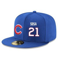 Baseball Majestic Chicago Cubs #21 Sammy Sosa Snapback Adjustable Stitched Player Hat - Royal Blue White