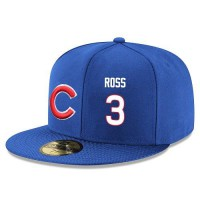Baseball Majestic Chicago Cubs #3 David Ross Snapback Adjustable Stitched Player Hat - Royal Blue White