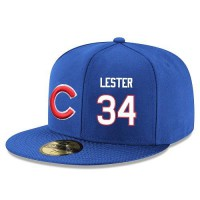 Baseball Majestic Chicago Cubs #34 Jon Lester Snapback Adjustable Stitched Player Hat - Royal Blue