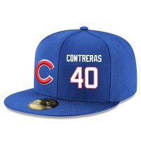Baseball Majestic Chicago Cubs #40 Willson Contreras Snapback Adjustable Stitched Player Hat - Royal Blue