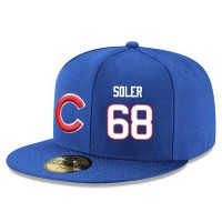 Baseball Majestic Chicago Cubs #68 Jorge Soler Snapback Adjustable Stitched Player Hat - Royal Blue