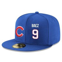 Baseball Majestic Chicago Cubs #9 Javier Baez Snapback Adjustable Stitched Player Hat - Royal Blue