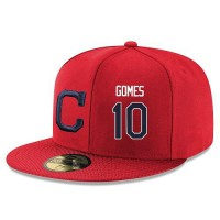 Baseball Majestic Cleveland Indians #10 Yan Gomes Snapback Adjustable Stitched Player Hat - Red