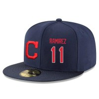 Baseball Majestic Cleveland Indians #11 Jose Ramirez Snapback Adjustable Stitched Player Hat - Navy
