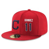 Baseball Majestic Cleveland Indians #11 Jose Ramirez Snapback Adjustable Stitched Player Hat - Red