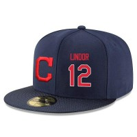 Baseball Majestic Cleveland Indians #12 Francisco Lindor Snapback Adjustable Stitched Player Hat - Navy