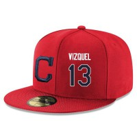Baseball Majestic Cleveland Indians #13 Omar Vizquel Snapback Adjustable Stitched Player Hat - Red