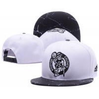 Boston Celtics White Snapback Hats White Black Cracks