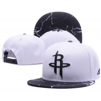 Houston Rockets White Snapback Hats White Black Cracks