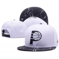 Indiana Pacers White Snapback Hats White Black Cracks