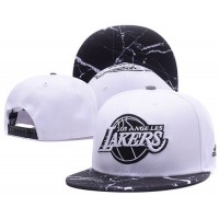 LA Lakers White Snapback Hats White Black Cracks