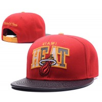 Miami Heat Snapback Hats Leather Brim