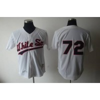 1990 Mitchell and Ness White Sox #72 Carlton Fisk White Throwback Stitched Baseball Jersey