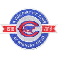 2016 Chicago Cubs A Century of Cubs At Wrigley Field 100th Anniversary Jersey Sleeve Patch