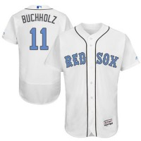 Boston Red Sox #11 Clay Buchholz White Flexbase Authentic Collection Father's Day Stitched MLB Jersey