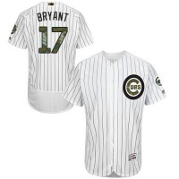 Chicago Cubs #17 Kris Bryant White(Blue Strip) Flexbase Authentic Collection Memorial Day Stitched MLB Jersey
