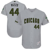 Chicago Cubs #44 Anthony Rizzo Grey Flexbase Authentic Collection Memorial Day Stitched MLB Jersey