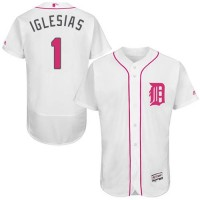 Detroit Tigers #1 Jose Iglesias White Flexbase Authentic Collection Mother's Day Stitched MLB Jersey
