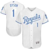 Kansas City Royals #1 Jarrod Dyson White Flexbase Authentic Collection Father's Day Stitched MLB Jersey