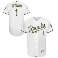 Kansas City Royals #1 Jarrod Dyson White Flexbase Authentic Collection Memorial Day Stitched MLB Jersey