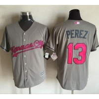 Kansas City Royals #13 Salvador Perez Grey New Cool Base Mother's Day Stitched MLB Jersey
