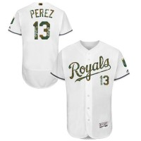 Kansas City Royals #13 Salvador Perez White Flexbase Authentic Collection Memorial Day Stitched MLB Jersey