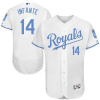 Kansas City Royals #14 Omar Infante White Flexbase Authentic Collection Father's Day Stitched MLB Jersey