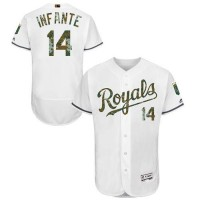 Kansas City Royals #14 Omar Infante White Flexbase Authentic Collection Memorial Day Stitched MLB Jersey