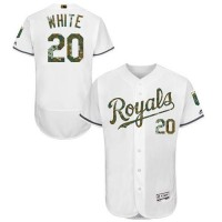 Kansas City Royals #20 Frank White White Flexbase Authentic Collection Memorial Day Stitched MLB Jersey