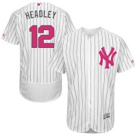 New York Yankees #12 Chase Headley White Strip Flexbase Authentic Collection Mother's Day Stitched MLB Jersey