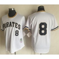 Mitchell And Ness 1971 Pittsburgh Pirates #8 Willie Stargell White Throwback Stitched MLB Jersey
