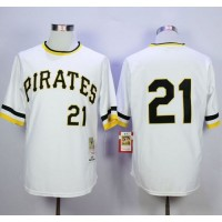 Mitchell and Ness 1971 Pittsburgh Pirates #21 Roberto Clemente Stitched White Throwback MLB Jersey