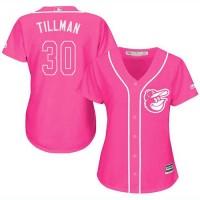 Women's Baltimore Orioles #30 Chris Tillman Pink Fashion Stitched MLB Jersey