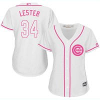 5476ab90 Women's Chicago Cubs #34 Jon Lester White Pink Fashion Stitched MLB Jersey