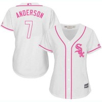 Women's Chicago White Sox #7 Tim Anderson White Pink Fashion Stitched MLB Jersey