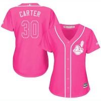 Women's Cleveland Indians #30 Joe Carter Pink Fashion Stitched MLB Jersey