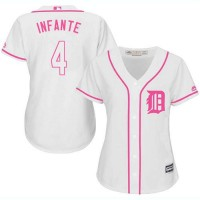 Women's Detroit Tigers #4 Omar Infante White Pink Fashion Stitched MLB Jersey