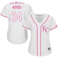 Women's Kansas City Royals #34 Travis Wood White Pink Fashion Stitched MLB Jersey