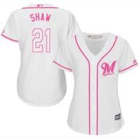 Women's Milwaukee Brewers #21 Travis Shaw White Pink Fashion Stitched MLB Jersey