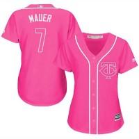 Women's Minnesota Twins #7 Joe Mauer Pink Fashion Stitched MLB Jersey