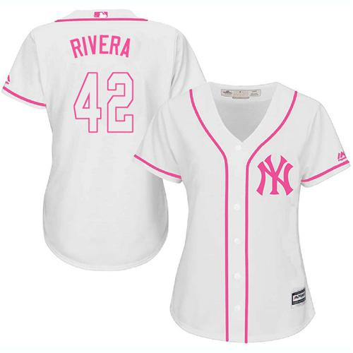449b6fea2 Women s New York Yankees  42 Mariano Rivera White Pink Fashion Stitched MLB  Jersey