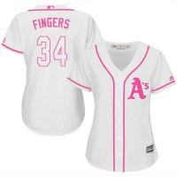 Women's Oakland Athletics #34 Rollie Fingers White Pink Fashion Stitched MLB Jersey