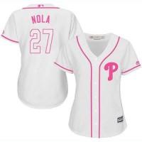 Women's Philadelphia Phillies #27 Aaron Nola White Pink Fashion Stitched MLB Jersey