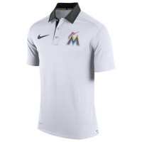 Men's Miami Marlins Nike White Authentic Collection Dri-FIT Elite Polo